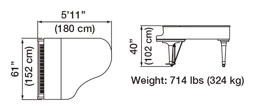 GX-2 Grand Piano Dimensions