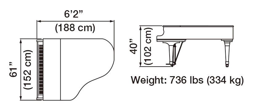 GX-3 Grand Piano Dimensions